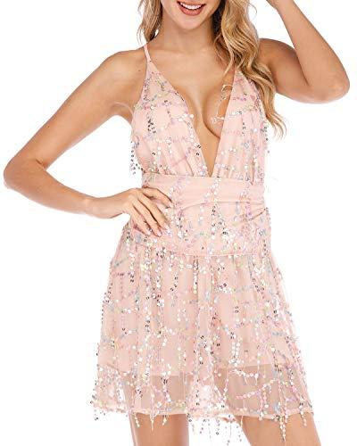 (WERIDEDIRT Sequin Backless Casual Tassel Summer Beach Mini Club Party Dress for Women (Pink, M))