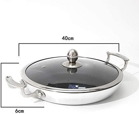 Wok, Poêle à frire avec couvercle en verre, grande capacité, convient à tous les feux dont induction (20 cm, 26 cm, 28 cm, 30 cm, 32 cm, 36 cm, 40 cm)