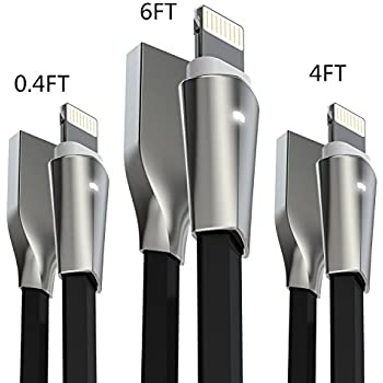 Aimus [3-Pack] Lightning Cable w/ LED Light [0.4FT+4FT+6FT] Zinc Alloyed Connector USB Fast Charging Cord for iPhone Charger X/8/8 Plus/7/7 Plus/6/6 Plus/5/5S/5C/SE, iPad Air iPod (Black)