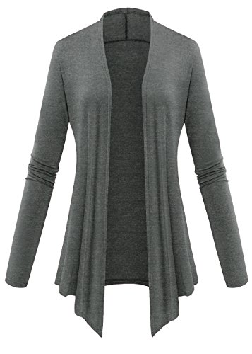 Women Plus Size Open Front Lightweight High Low Drape Cardigan 2X-Large Deep Grey - Long Open Cardigan