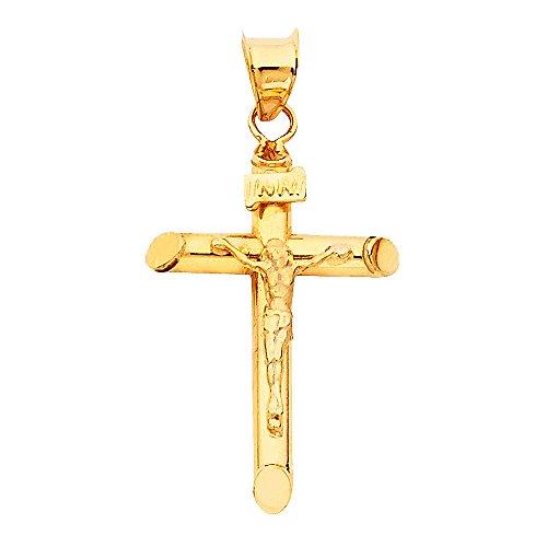 Ladies Crucifix (14k Yellow Gold Religious Crucifix Pendant)