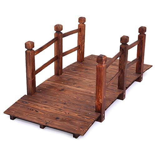 (Mandycng 5 Feets Bridge Japanese Garden Style Wooden Garden Bridge Solid Wood Garden Pond Walkway w/Railings)