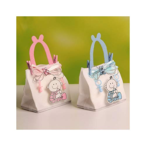 !! 7.5 * 4.5 * 12cm Baby Boy Figure Wedding Candy/Chocolate Bags Portable Favor Bags Nonwoven Fabric Candy Bag 12pcs,Blue