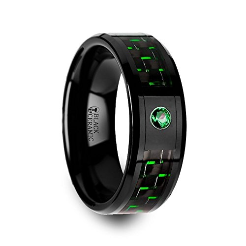 Thorsten Rings HADAR Black Ceramic Ring with Black and Green Carbon Fiber and Green Emerald Setting - 8mm