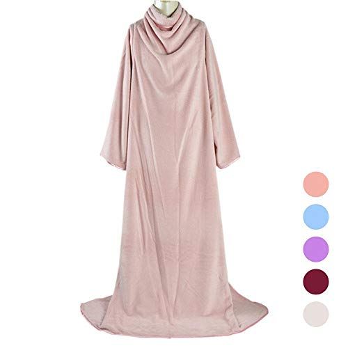 et with Sleeves, Ultra Plush Fleece Soft Flannel Warm Comfy Sleeved TV Throws Wrap Robe Blanket for Adult Women Men, 250x183cm/ 98.4x72 Inch ()