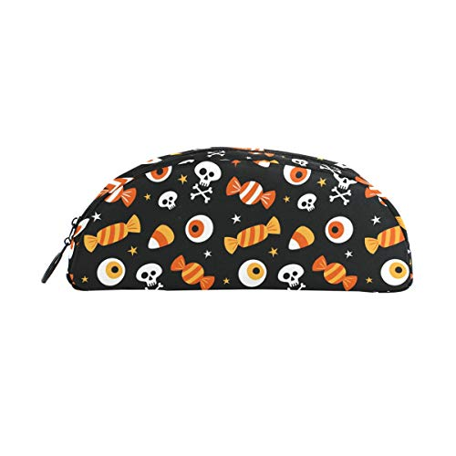 (JERECY Halloween Skull Candies Pattern Pencil Case Pen Bag Pouch Holder Coin Purse Cosmetic Makeup for Trave)