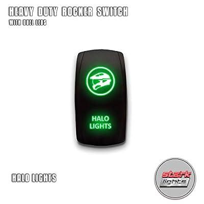 HALO LIGHTS - Green - STARK 5-PIN Laser Etched LED Rocker Switch Dual Light - 20A 12V ON/OFF: Automotive
