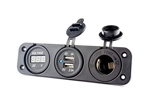 Volt Voltmeter - HugeTree 12V Universal 3 in 1 Cigarette Lighter Socket Dual USB Power Adapter Charger LED Digital Voltmeter for Car Auto Motorcycle Boat Riding Mower Tractor Travel Trailer Caravan (3 in 1)