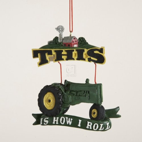 Kurt Adler Painted Resin Tractor Plaque Ornament