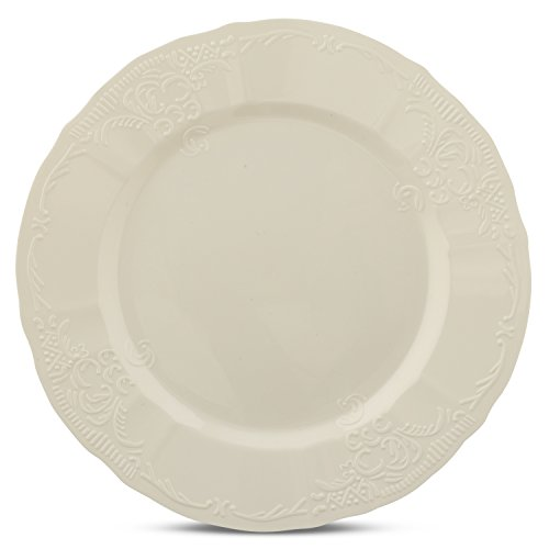 Disposable Wedding Party Plates With Embossed Flowers Design - Real China Look Plastic Dinnerware, Hard and Reusable (216 Piece Pack - Ivory - 10