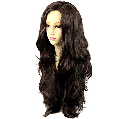 [Sexy Fabulous Long Layers Wavy Wig Dark Coffee Brown Ladies Wigs Skin Top] (Long Sexy Wigs)