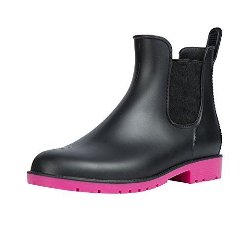 Comwarm Womens Anti Slip Ankle Rain Boots Waterproof Slip On Rain Shoes Elastic Chelsea Rose Red Rain Booties
