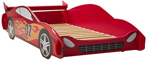 Legaré Furniture Children's Race Car Standard Bed Frame for Kids, Red and White, Twin - Twin Nascar Bed