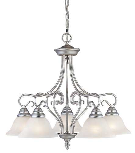 Livex Lighting 6135-91 Coronado 5 Light Brushed Nickel Chandelier with White Alabaster Glass by Livex Lighting