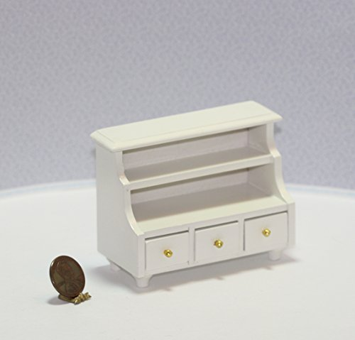 Dollhouse Miniature White Painted Wood Low Shelving Unit with 3 Working Drawers (Dollhouse White Painted Wood Miniature)