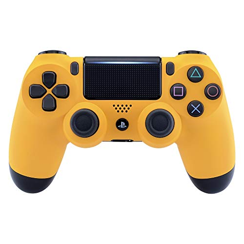 eXtremeRate Caution Yellow Faceplate Cover, Soft Touch Front Housing Shell Case, Comfortable Soft Grip Replacement Kit for Playstation 4 PS4 Slim PS4 Pro Controller (CUH-ZCT2 JDM-040 JDM-050 JDM-055)