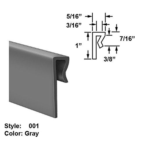 MDS-Filled Nylon Plastic J-Channel Push-On Trim, Style 001 - Ht. 1'' x Wd. 5/16'' - Gray - 25 ft long by Gordon Glass Co.