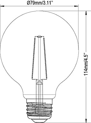3-Pack Bioluz LED™ Dimmable LED Globe Bulbs G25 40 Watt Equivalent Warm White (2700K) LED Light Bulb UL Listed
