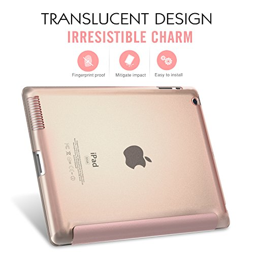 Moko Case for iPad 2/3 / 4 - Ultra Lightweight Slim Smart Shell Stand Cover with Translucent Frosted Back Protector for iPad 2 / The New iPad 3 (3rd Gen) / iPad 4, Rose Gold (with Auto Wake/Sleep) by MoKo (Image #2)