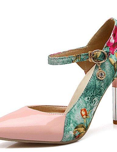 GGX Damen Schuhe Stiletto Heel Spitz Zulaufender Zehenbereich Flower Print Schnalle Pumpe mehr Farbe erhältlich