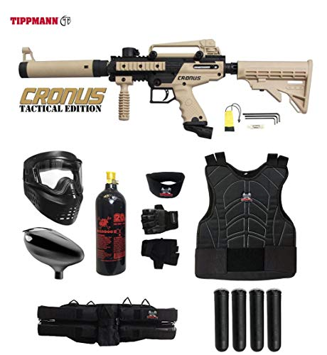 - MAddog Tippmann Cronus Tactical Starter Protective CO2 Paintball Gun Package - Black/Tan