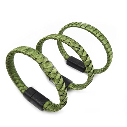 eLUUGIE 3 Packs Charging Cable Bracelet Usb C Type C Bracelet Charging Cord Cable Weaving Wristband Cord for Samsung Galaxy Note 8,S8 Plus, One Plus Nintendo Switch Charger Cord (Green) Bracelet Wristband Usb