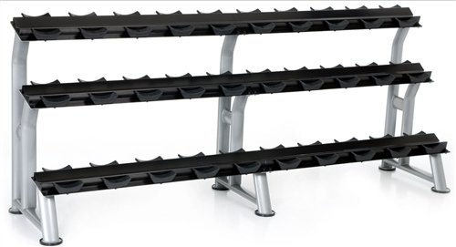 3-Tier Fixed Pro Style Dumbbell Saddle Rack 15 Pairs by Hampton Fitness