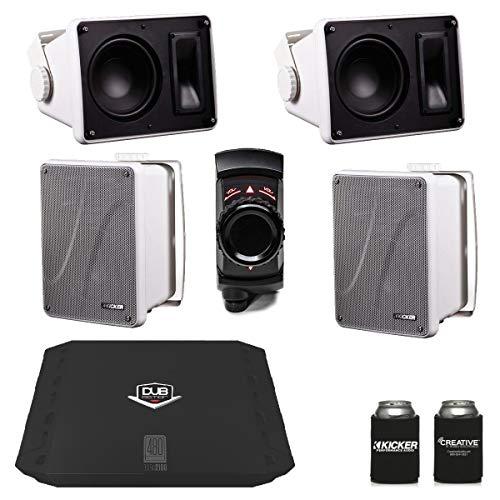 Kicker KB6000 White Outdoor Speakers (2 Pairs) with Dub 480 Watt Amplifier & MB Quart N2-WBT Bluetooth Receiver