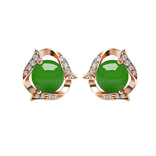 FAVOT Women's Green Stud Earrings, 2019 Ethnic Style Rose Gold Crystal Agate Jade Earrings Jewelry Accessories