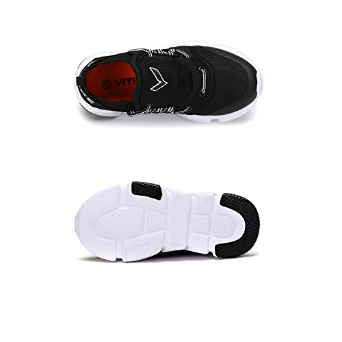 ASHION Boy Fitness Running Trainers Casual Sneakers Gym Girl's 2 Shoes Vamp Breathable black Athletic rrfBxqpd