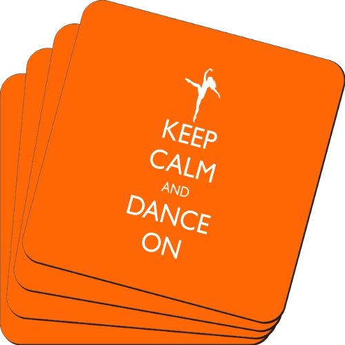 Rikki Knight Keep Calm and Dance on Orange Color Design Soft Square Beer Coasters (Set of 2), Multicolor