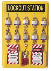 (North® by Honeywell Polystyrene Unfilled Complete Lockout Station Includes (1) Panel, (10) 3D Wide Keyed Padlocks, (2) Lockout Tags And (3) Hasps )