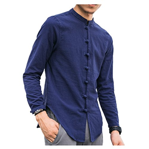 Clearance Vintage T Shirts for Men vermers Men's Casual Tops Summer Long Sleeve T-Shirt Button Linen Solid Blouse(4XL, Blue) by vermers