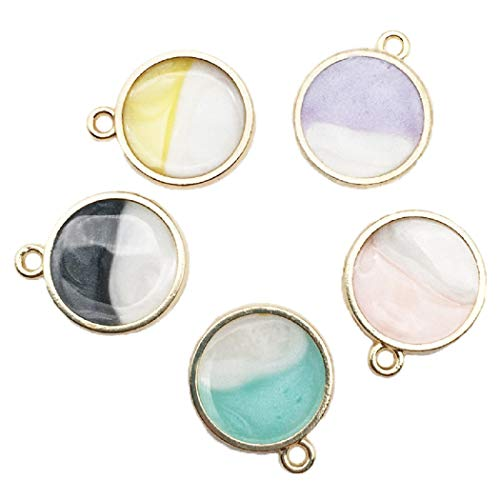 25pcs Assorted Enamel Charm Pendant Double-Sided Colorful Round Dainty Dangle Crafting Accessories for Necklace Bracelet Ankle Earring Jewelry DIY Making