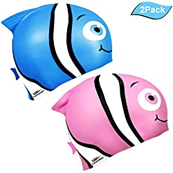 EVERSPORT Kids Swim Cap, Pack of 2, Silicone Toddler Swim Caps for Boys and Girls, Fun Design Waterproof Junior Swimming Cap Pink and Blue Age 3-12 (Minnow)