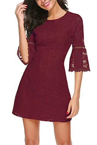 Twinklady Women's 3/4 Bell Sleeve Floral Lace Elegant Cocktail Party A-Line Mini Dress (Wine Red, XL) ()