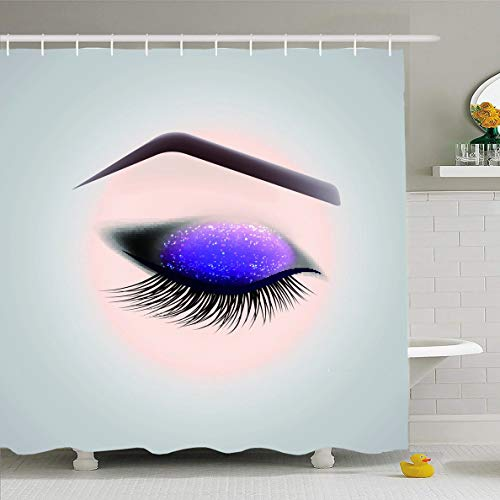 Ahawoso Shower Curtain 66x72 Inches Care Eyeshadow Eye Makeup Closed Long Eyelashes Eyelid Realistic Application Apply Artist Design Waterproof Polyester Fabric Set with Hooks -