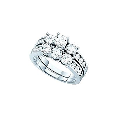 14kt White Gold Womens Round Diamond 3-Stone Bridal Wedding Engagement Ring Band Set 2.00 Cttw