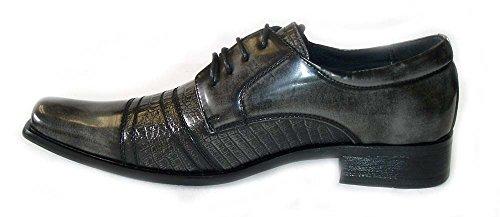 Nuovo * Delli Aldo * Moda Uomo In Pelle Stringate Oxford Scarpe Eleganti Corno 19053 Grigio
