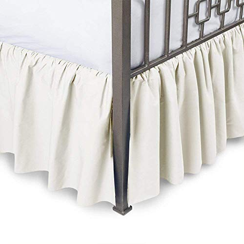 - Ruffled Bed Skirt with Split Corners Three Side Coverage, Easy fit, Made Brushed Microfiber King 14 inches - Ivory