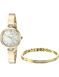 Women's 75/5487MPGPST Swarovski Crystal Accented Gold-Tone Watch and Bangle Set