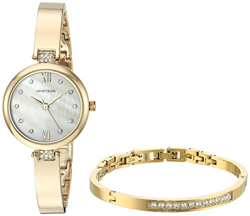 Armitron Women's 75/5487MPGPST Swarovski Crystal Accented Gold-Tone Watch and Bangle Set