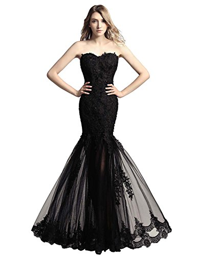 Tulle Long Strapless Mermaid Prom Dresses Ball Gown Lace Formal Evening Dresses Black ()