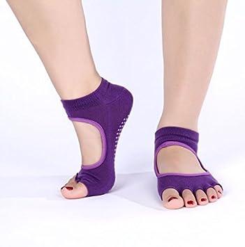 SUNLAND Yoga, Pilates calcetines Toeless Calcetines 5 dedos de los pies antideslizantes para mujer Morado morado: Amazon.es: Deportes y aire libre