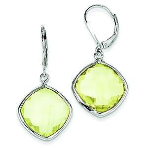 Broche de plata de ley Juego de pendientes de cuarzo limón - JewelryWeb