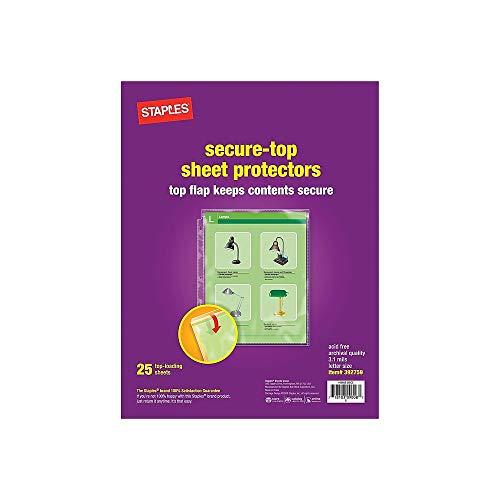 (Staples 392759 Secure-Top Sheet Protectors 25/Pack (15953))