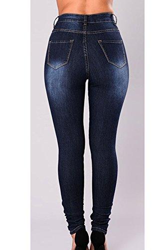Azul Rasgado Jeans Stretch Skinny Ajustado Mujer Pantalones Denim Corte Fanvans zA6xEwqn
