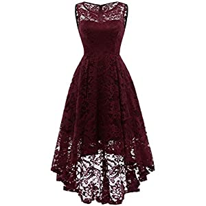 MUADRESS Women's Vintage Floral Lace Sleeveless Hi-Lo Cocktail Formal Swing Dress 29