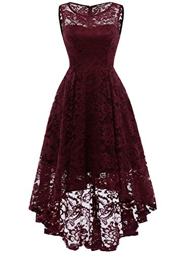MUADRESS 6006 Women's Vintage Floral Lace Sleeveless Hi-Lo Cocktail Formal Swing Dress Burgundy M