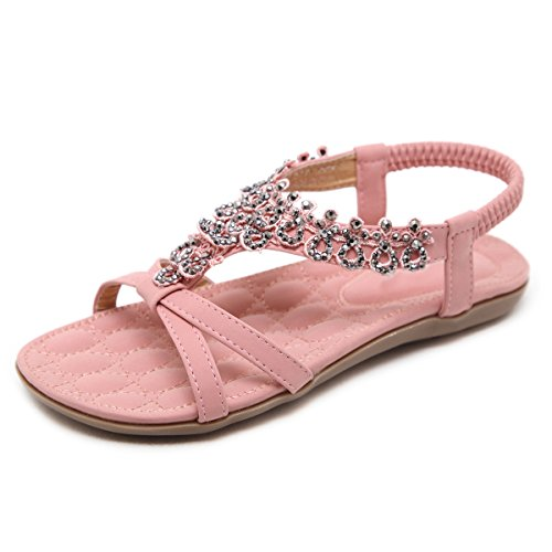 VFDB Women Bohemian Summer Gladiator Flats Rhinestone Open Toe Sandals Ankle Strap Shoes Pink US 7.5